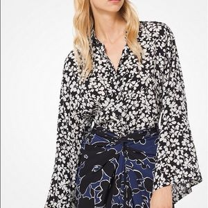 MICHAEL KORS COLLECTION Floral Crepe Kimono Blouse
